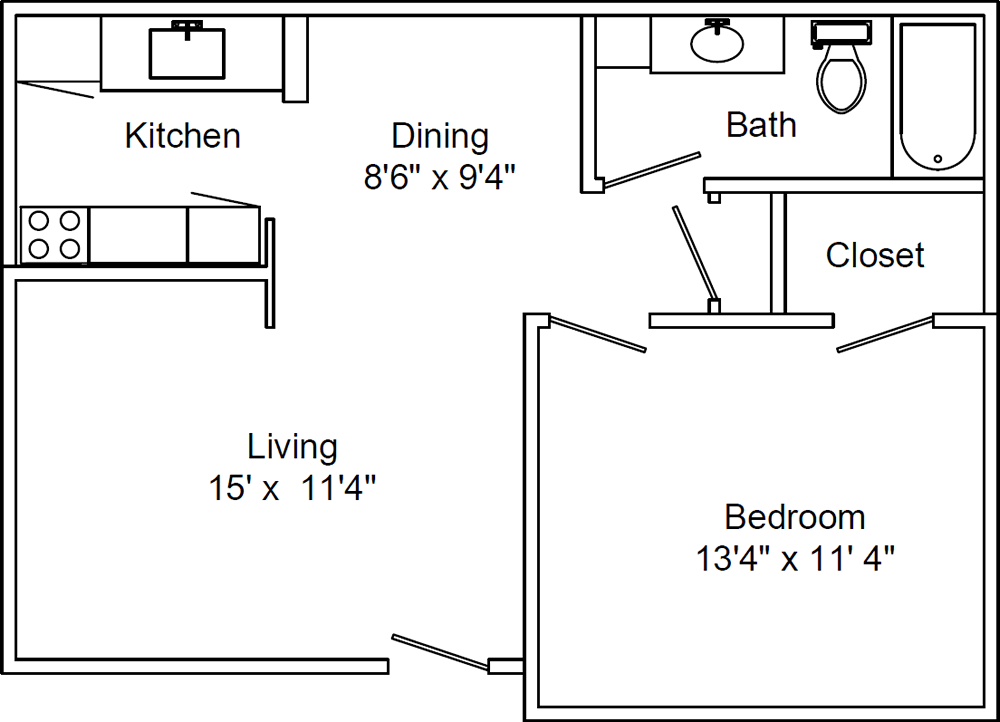 One Bedroom / One Bath - 606 Sq. Ft.*